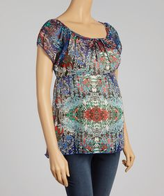 This QT Maternity Blue & Burgundy Abstract Maternity Hi-Low Top by QT Maternity is perfect! #zulilyfinds