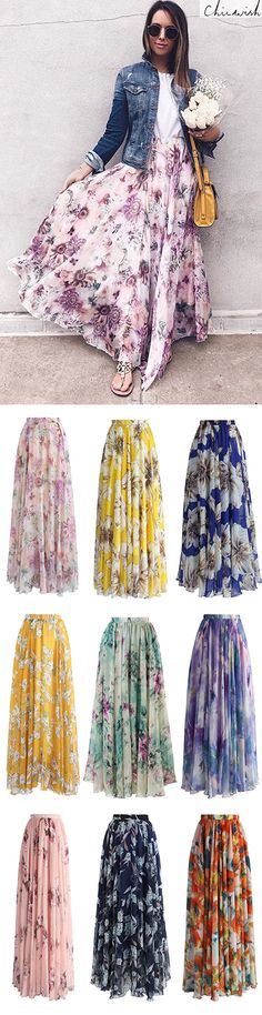 Sunflower Blossom Watercolor Chiffon Maxi Skirt featured by fashionablykay Modest Outfits, Modest Fashion, Casual Outfits, Cute Outfits, Fashion Outfits, Womens Fashion, Fashion Trends, Skirt Outfits, Mode Abaya