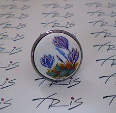 δαχτυλιδι με ζωγραφισμένα λουλουδια