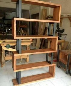 Hardwood and metal bookcase Unique wood & iron # . Hardwood and metal bookcase Unique wood & iron Easy Woodworking Projects, Popular Woodworking, Diy Wood Projects, Fine Woodworking, Furniture Projects, Diy Furniture, Furniture Design, Unique Wood Furniture, Woodworking Machinery