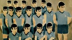 painting of an all-Spock soccer team