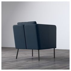 IKEA - EKERÖ, Armchair, Skiftebo dark blue, , The reversible back cushion gives soft support for your back and two different sides to wear.The back cushion can be Ikea Armchair, Black Armchair, Ikea Chairs, Ikea Ps, Ikea Home, Fabric Armchairs, Keep It Cleaner, Furniture Making, Deco