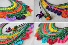 Sarracenia Flava - Freeform Crochet Beaded Necklace Amazing...