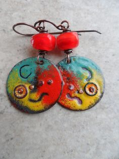 In All Seriousness ... Copper Enameled Charms by juliethelen