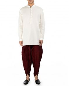 Maroon Silk Dhoti Pants by Tarun Tahiliani