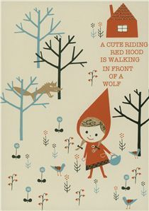 Shinzi Katoh fairy tale postcard Red Riding Hood wolf - Postcards - Stationery