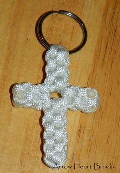Handmade Paracord Cross Keychain - Key Ring - White Cross - Square Knot