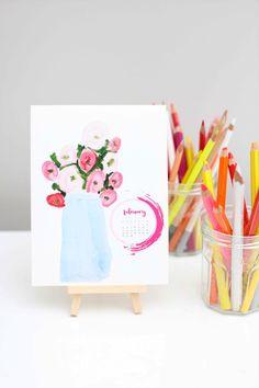 DIY Desk Calendar made from kids art