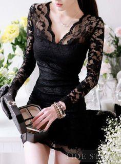 Cool Sexy Lace Long Sleeve Slim Hot Mini Dress http://www.gonpin.me/