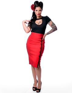 Sarina Red Button Slit Skirt @ Modern Grease Clothing & Accessories Co. www.moderngrease.com