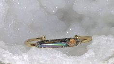 Raw Quartz Point Cuff, Boho Staking Bracelet, November Birthstone Jewelry, Rough Topaz Bracelet, Rainbow Aura Quartz, Best Gift For Women
