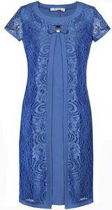Rochie cu aspect stratificat, de culoare albastra, din dantela