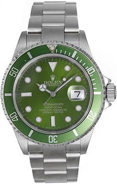 Rolex Submariner Men's Steel Watch with Green Dial & Bezel 16610
