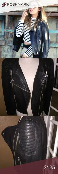 H&M Real Leather Black Moto Jacket Sz 8 In excellent condition. 💯 % Real leather. Bloggers Favorite and Hard to Finds. H&M Jackets & Coats Blazers