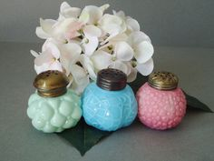 Vintage Glass Salt and Pepper Shakers - Consolidated Glass Shakers - Jadeite jadite Glass Shakers