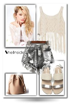 """""""Sheinside Grey Shorts - Contest"""" by ramiza-rotic ❤ liked on Polyvore featuring Silvana"""