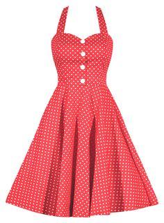 Retro Gal Polka Dot Halter Swing Dress - Coral