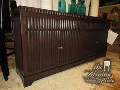 """Annabelles fluted credenza in a dark finish. There are two drawers at the top and one shelf behind either set of doors below. Such a sophisticated look; just beautiful! 80""""wide x 18""""deep x 36""""high. Was $4,455 new! Arrived: Thursday December 8th, 2016"""