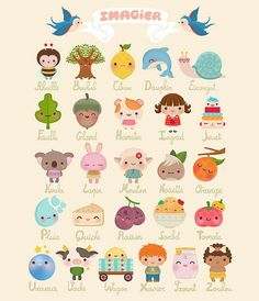 Adorable kawaii illustration French Alphabet.