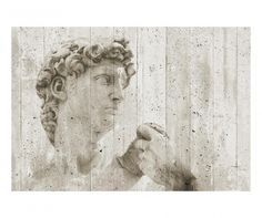 Showcasing classic art in a modern way, the Ideal Decor David Street Art Wall Mural is gorgeous in gray and beige. Featuring a close-up shot of the statue of David surrounded by a stone background, this eight-panel wall mural is also easily removable. Embossed Wallpaper, Striped Wallpaper, Wallpaper Roll, Cool Wallpaper, Wallpaper Murals, Street Art, Wall Murals, Wall Art, Abstract Styles