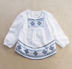 Liyx41 2015 nova Grils blusas sólidos bordado meninas meninas completo manga crianças roupas meninas ClohtesLot