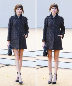 Alexa Chung arrives at Burberry Prorsum show. Leopard print coat, bare legs and ancle strap shoes