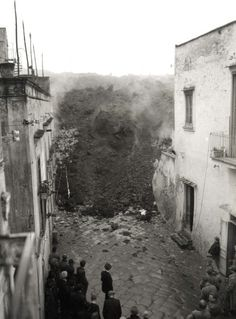 Melvin C. Shaffer / Lava Flow Engulfing a Village to the West of Vesuvius, 1944
