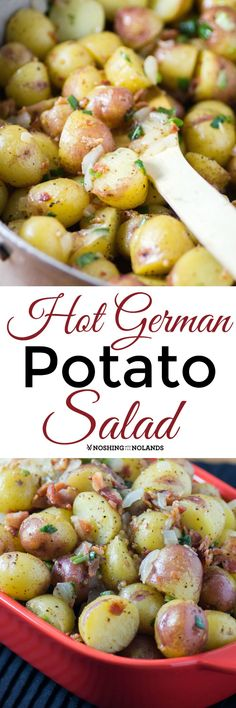 Hot German Potato Salad by Noshing With The Nolands is a delicious side dish that pairs well with any entree! Full of warm bacon potato flavor!