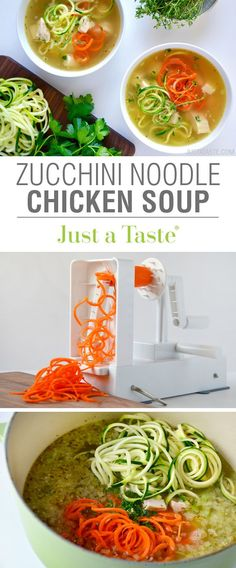 Skip the pasta in favor of a quick and easy recipe for chicken soup loaded with zucchini noodles, carrot noodles, garlic and fresh herbs.