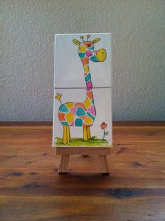 Mini canvas painting // Giraffe // Double by PauperPaintings, $8.00