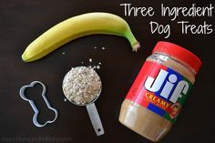 An easy to make homemade dog treat recipe that uses three ingredients you probably already have in your home! Peanut butter, banana, and oatmeal!