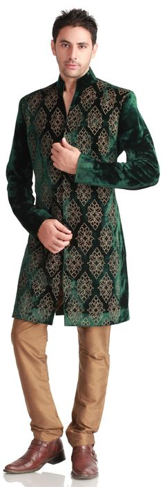 For the Urban city-chic groom: a short, velvet, Virtues sherwani ($664.00) over fitted trousers retains the urban look with its slim-tailored elegance