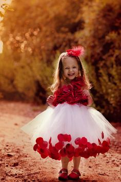 Ruby Red flower girl dress - perfect for a Valentine's or Christmas Wedding