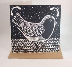 Goth Robin - Christmas card, linocut £3.00
