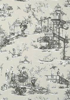CHENG TOILE, Beige and Black, T75469, Collection Dynasty from Thibaut