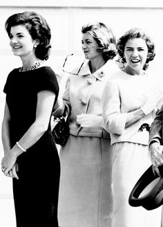 Jacqueline Kennedy, Jean Kennedy Smith and Ethel Kennedy photographed at the White House, 1961.