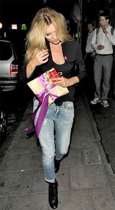 Kate Moss looks a million dollars in her Mango Boyfriend Jeans heading to headed to the Soho Theatre.  Insert a favorite blue jean or maybe a jean of color.  Many options.