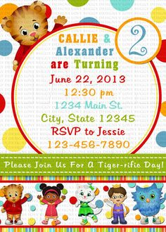 Printable $11 Daniel Tiger Invitation, Daniel Tiger Birthday Invitations, Daniel Party Invite Printables