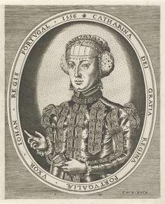 Frans Huys   Portret van Catharina van Habsburg, Frans Huys, Hieronymus Cock, 1546 - 1562   Portret van Catharina van Habsburg, koningin van Portugal, ten halven lijve naar links in een ovale lijst met randschrift in het Latijn.
