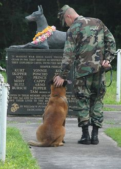 Petty Officer 2nd Class Blake Soller, a Military Working Dog (MWD) handler pets the head of his MWD Rico, at the War Dog Cemetery located on Naval Base Guam.