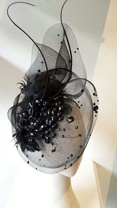 He says this is going to Ascot for the races. He says this is going to Ascot for the races. Millinery Hats, Fascinator Hats, Fascinators, Black Fascinator, Idda Van Munster, Crazy Hats, Cocktail Hat, Kentucky Derby Hats, Church Hats