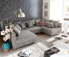 Big-Sofa Valeska 310x135 mit Hocker Grau Cremeweiss   Pinterest ...