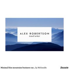 Minimal blue mountains business cards