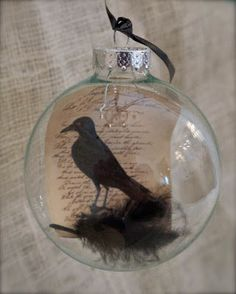 Raven Globes - easy 5 minute Halloween DIY maybe Poe ornament for library's festival park tree(Diy Ornaments Teacher) Halloween Trees, Halloween Projects, Holidays Halloween, Halloween Crafts, Happy Halloween, Halloween Decorations, Diy Halloween Ornaments, Christmas Ornaments, Christmas Globes