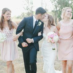 Pink Bridesmaid Dresses // photo by: Caroline Joy // http://www.theknot.com/weddings/album/a-charming-garden-wedding-in-austin-tx-137227