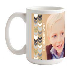 Glitter Herringbone: 15 oz White - Personalized Mugs  in Gunmetal or Berry | Design Collective