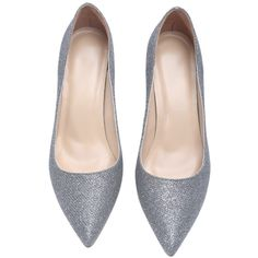 Silver Glitter Sparkle Point Toe High Heel Shoes ($44) ❤ liked on Polyvore