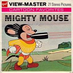 MIGHTY MOUSE Terry Toons 1958 View-Master set. Great cover with Mighty Mouse catching bullit between his teeth. And mint condition (minkshmink)