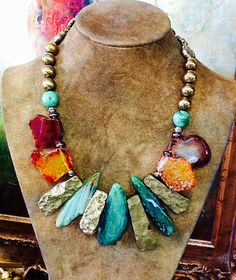 Agate slabs in green & amber with cracked gold nugget glass. www.MissMotleys.etsy.com