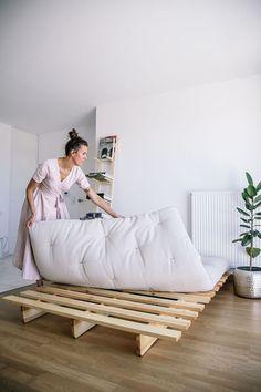 Bed Frame Design, Diy Bed Frame, Minimalist Bedroom, Minimalist Home, Small Room Bedroom, Bedroom Decor, Furniture Styles, Furniture Design, Low Loft Beds